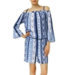 INC Blue Off Shoulder Smocked Shorts Romper XL